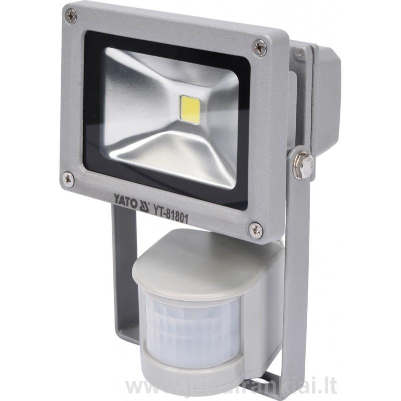 Prožektorius LED su judesio davikliu 10W, 700lm, YATO YT-81801