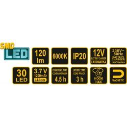 Šviestuvas įkraunamas 120 lm. 30SMD LED VOREL Y-82729