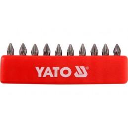"Antgalių rinkinys 10vnt. PH0 1/4"" 25mm., YATO YT-0473"