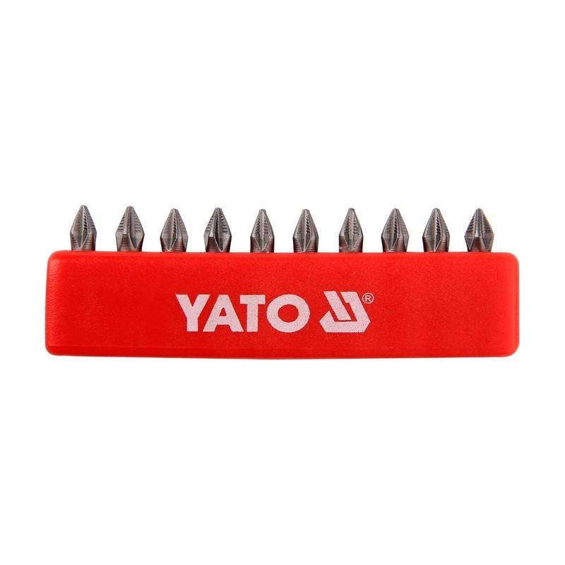 "Antgalių rinkinys 10vnt. PH2 1/4"" 25mm., YATO YT-0475"