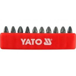 "Antgalių rinkinys 10vnt. PZ3 1/4"" 25mm., YATO YT-0472"