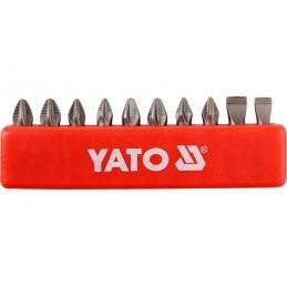 "Antgalių rinkinys 10vnt. 1/4"" 25mm., YATO YT-0482"