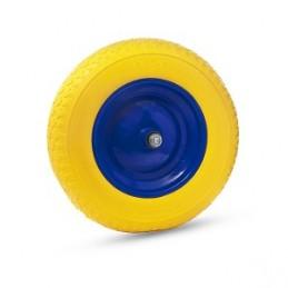 Ratas karučiui PU pilnas 3,5x8 su metaliniu disku ir ašimi.