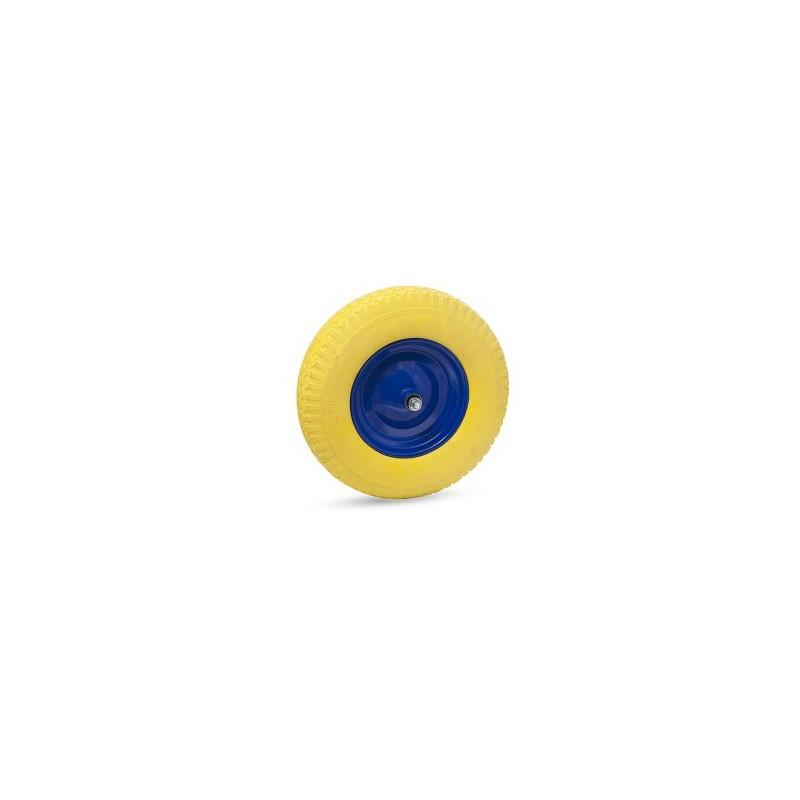 Ratas karučiui PU pilnas 4x8 su metaliniu disku ir ašimi.