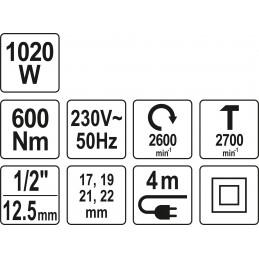 """Veržliasukis smūginis elektrinis 1020W 1/2"""", 1/4""""HEX, 600Nm YATO YT-82021"""