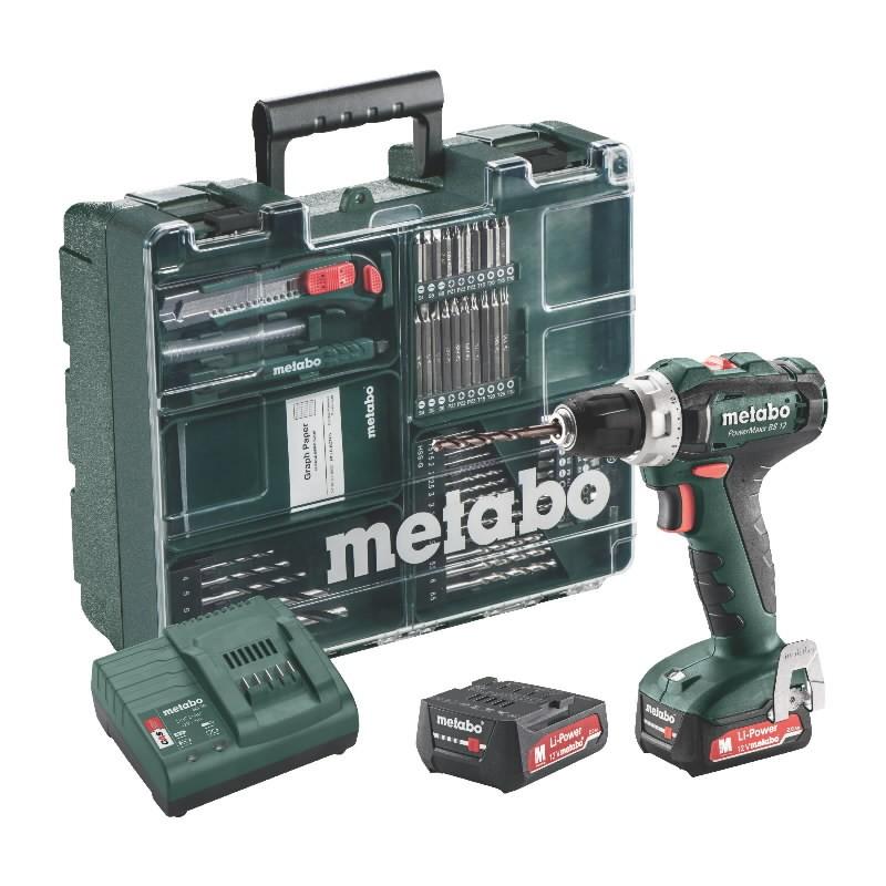 Mobilus meistro rinkinys PowerMaxx BS 12V 63 priedai 2,0Ah, Metabo