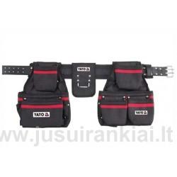 Diržas įrankiams su kišenėmis ir plaktuko laikikliu Yato YT-7400