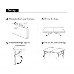 Sulankstomas stalas-prekystalis 120x60cm. aliuminis LC01