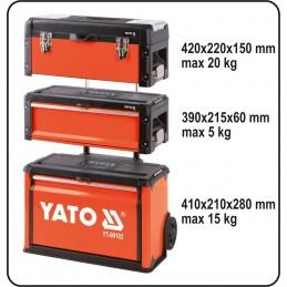 Dėžė įrankiams ant ratuku, 3 dalių, metalinė YATO YT-09102