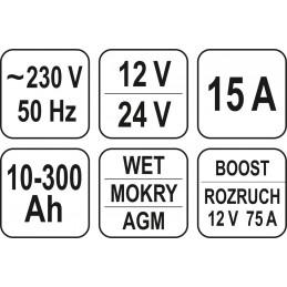 Pakrovėjas akumuliatoriams DC 12V 15A / DC 24V 7.5A su 75AMP, skaitmeninis, užvedimo funkcija YATO YT-83051