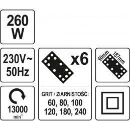 Šlifuoklis 260W, YATO YT-82230