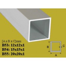 Profilis 12x12mm. L-200cm. aliuminis, vamzdis kvadratinis EFFECTOR B53