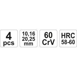 Kaltai medžiui 4 vnt. 10/16/20/25mm. YATO YT-6260