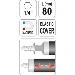 Magnetinis antgalių laikiklis 80mm. su prailgintuvu YATO YT-0467