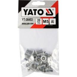 Kniedės aliumininės srieginės M5 20vnt. YATO YT-36453