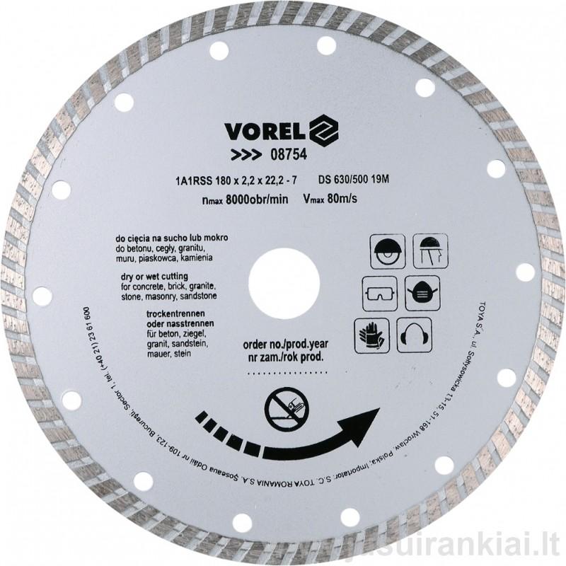 Diskas 180mm. deimantinis sausam+šlapiam pjovimui VOREL 08754