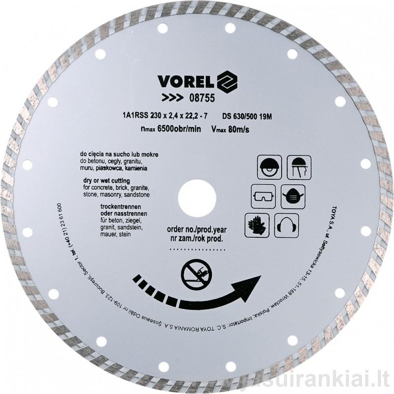 Diskas 230mm. deimantinis sausam+šlapiam pjovimui VOREL 08755