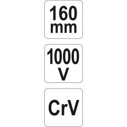 Replės 160mm. kirpimo šoninio izoliuotas 1000V YATO 21158
