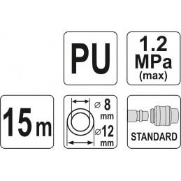 Žarna 15m spiralinė su antgaliu (poliuretanas) YATO YT-24209