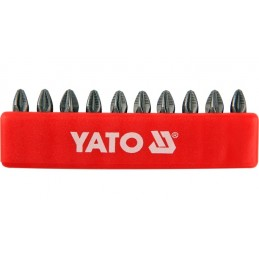 "Antgalių rinkinys 10vnt. PZ2 1/4"" 25mm., YATO YT-0471"