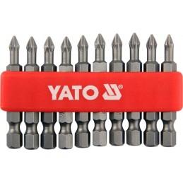 "Antgalių rinkinys 10vnt. PH2 1/4"" 50mm., YATO YT-0478"