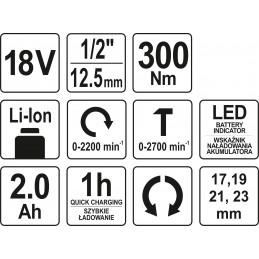 Suktuvas smūginis 300Nm. akumuliatorinis 18V Li-ion YATO YT-82804