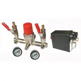 Reguliatorius kompresoriui BM tipo su slėgio jungikliu ir manometrais. Atsarginė dalis