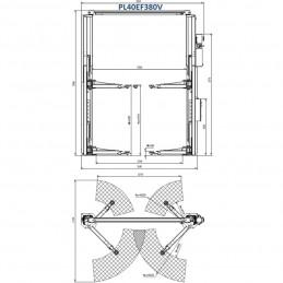 Hidraulinis dviejų kolonų keltuvas su elektromagnetiniu fiksavimu, 4.0t, PL40EF