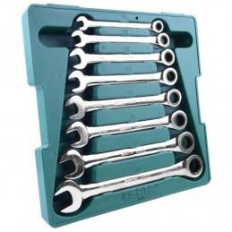 Kombinuotų raktų su terkšle rinkinys 8vnt. (8-19)