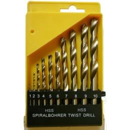 Grąžtų metalui rinkinys DIN338 10vnt. (1-10mm)