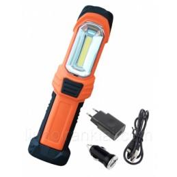 Prožektorius darbui COB (3W) + LED 1W (įkraunamas) su automobiliniu adapteriu