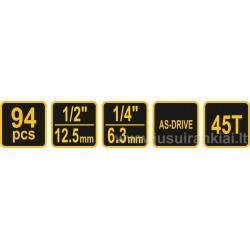 Įrankių rinkinys 94 vnt. Vorel Y-58683