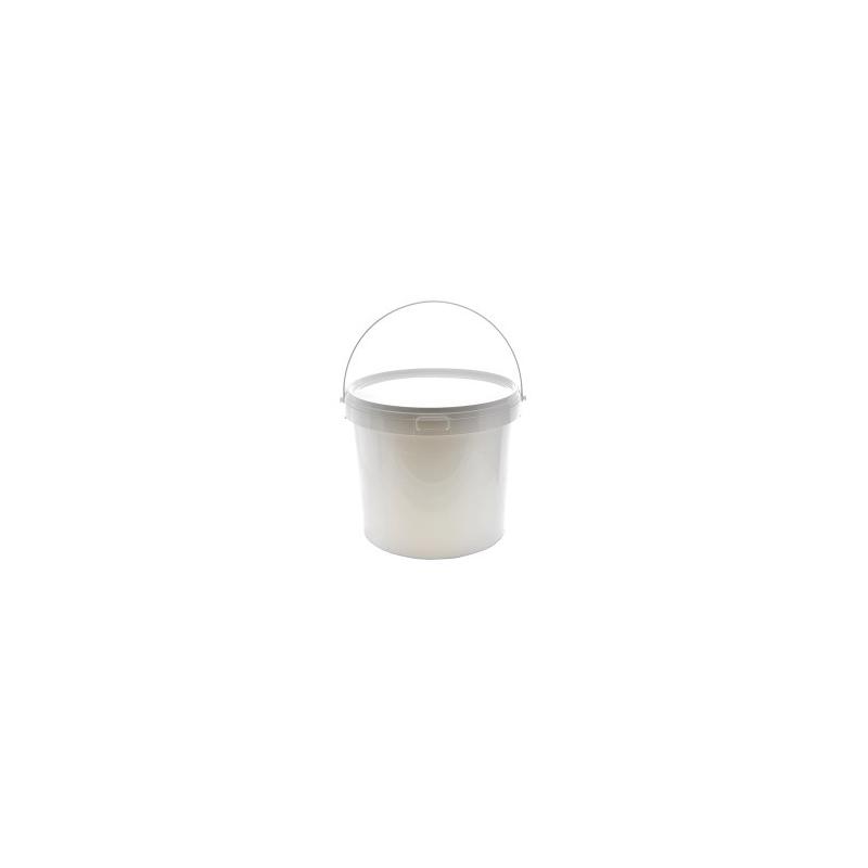 Kibiras polietileninis maistui su dangteliu 10ltr. apvalus baltas