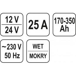 Pakrovėjas-paleidėjas, 12/24V, Start/Bost 30A, 350Ah YATO YT-8305