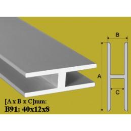 Profilis 40x12mm. L-200cm. aliuminis EFFECTOR H B91