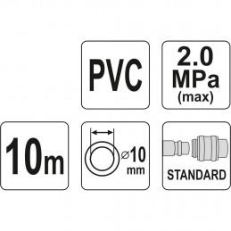 Žarna 10m. Ø10x14mm. PVC, su jungtimisc YATO YT-24224