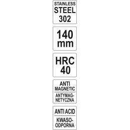 Pincetas tiesus antistatinis 140mm. YATO YT-6916