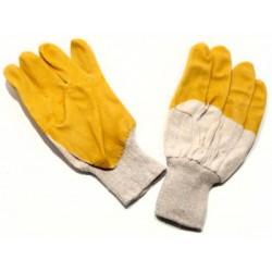 Pirštinės megztos aplietos PVC, neperpjaunamos, geltonos