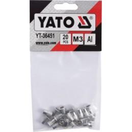 Kniedės aliumininės srieginės M3 20vnt. YATO YT-36451
