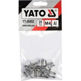 Kniedės aliumininės srieginės M4 20vnt. YATO YT-36452