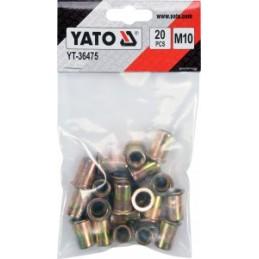 Kniedės plieninės srieginės M10 20vnt. YATO YT-36475