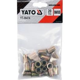 Kniedės plieninės srieginės M8 20vnt. YATO YT-36474