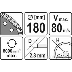 Diskas 180 mm. deimantinis šlapiam-sausam pjovimui YATO 6024