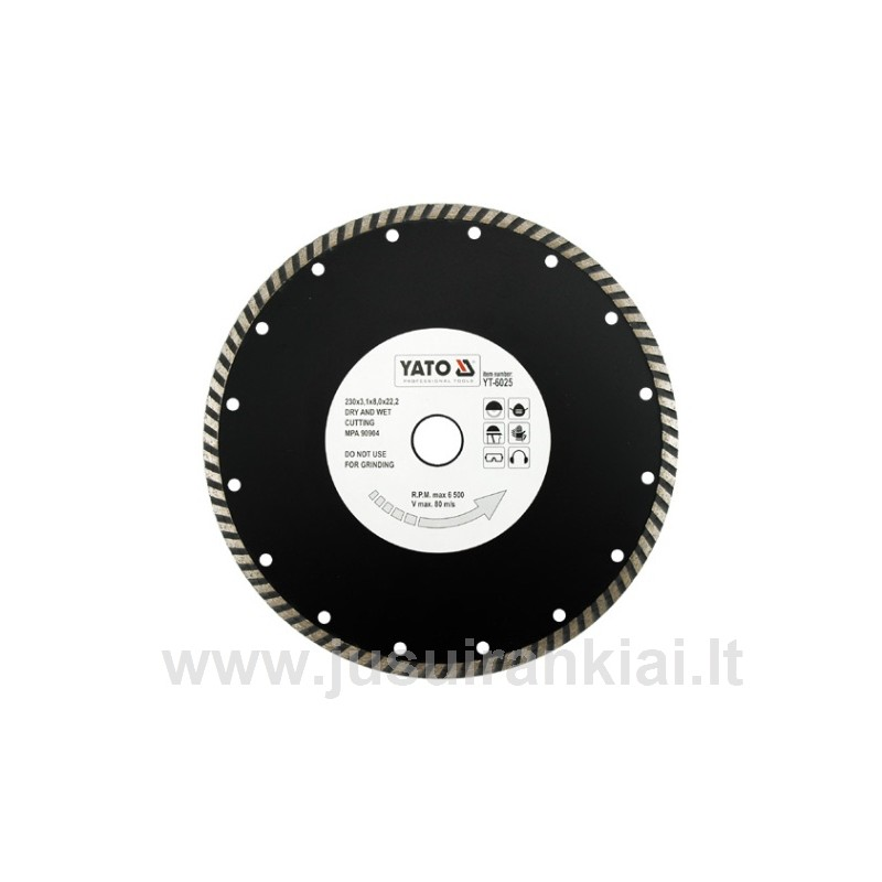 Diskas 230 mm. deimantinis šlapiam-sausam pjovimui YATO 6025