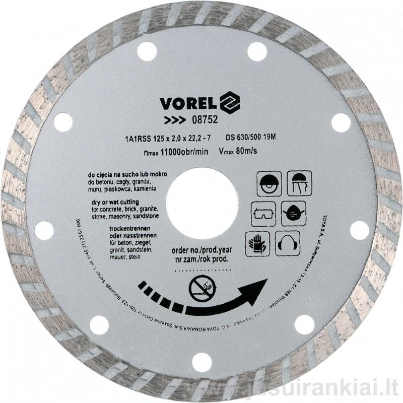 Diskas 125mm. deimantinis sausam+šlapiam pjovimui VOREL 08752