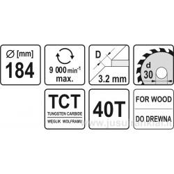 Diskas 184x30/3,2mm. 40dant. medžiui YATO 6061