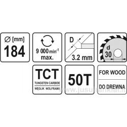 Diskas 184x30/3,2mm. 50dant. medžiui YATO 6062