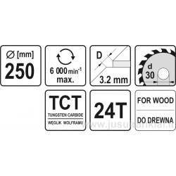 Diskas 250x30/3,2mm. 24dant. medžiui YATO YT-6070