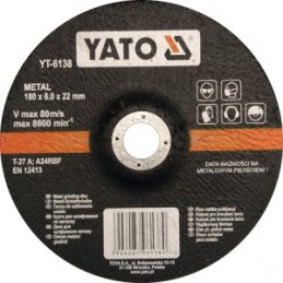 Diskas metalo šlifavimui 180x6,8x22mm. YATO YT-6138