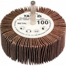Diskelis šlifavimo lapelių 80x30x6mm. P100 su ašele metalui YATO YT-83374